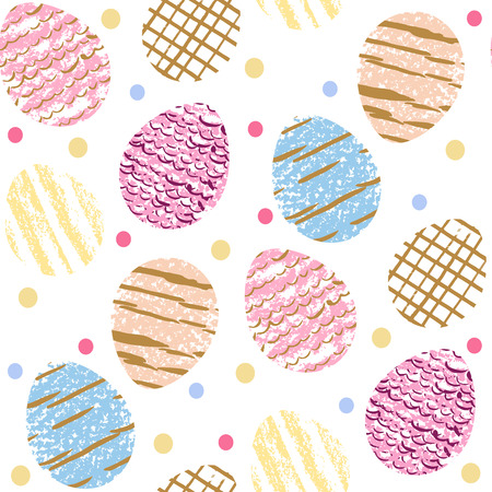 Beautiful Easter seamless pattern with Easter eggs in cartoon style. Happy Easter festive spring background vector illustration.
