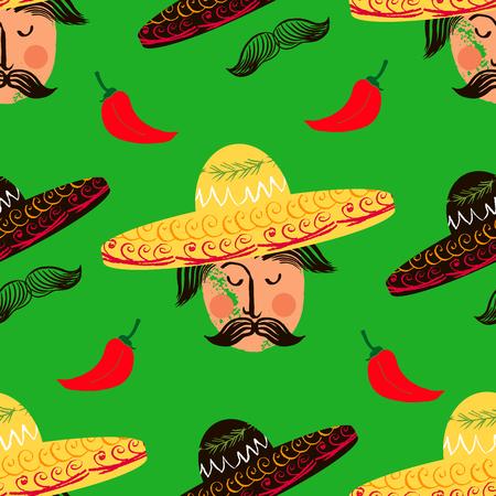 Mexican seamless pattern with sombrero, Happy Cinco de mayo! Mexican festive background. Cinco De Mayo template paper design vector illustration.