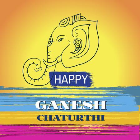 Festival of Ganesh Chaturthi on colorful background vector illustration. Illustration