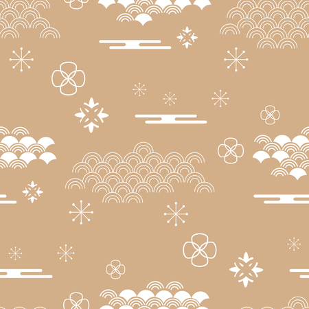 Decorative seamless pattern with clouds, flowers, Japanese elements and bamboo tree vector seamless Asian texture. For printing on packaging, textiles, paper and other materials. Vettoriali