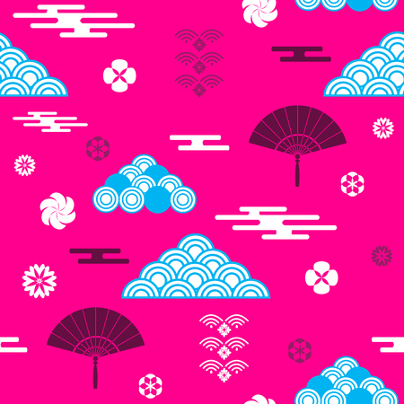 Decorative seamless tribal pattern with clouds, waves, Japanese, Chinese elements vector seamless Asian texture. For printing on packaging, textiles, paper,book covers, manufacturing, wallpapers, print, gift wrap and scrapbook. Иллюстрация