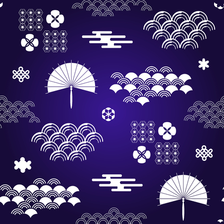 Decorative seamless tribal  pattern with clouds, waves, japanese , chinese elements. Vector seamless asian texture.For printing on packaging, textiles, paper,book covers, manufacturing, wallpapers, print, gift wrap and scrapbooking. 向量圖像