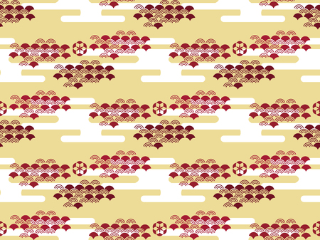 Beautiful Japanese seamless pattern with clouds, waves and flowers vector seamless Asian texture. For printing on packaging, textiles, paper, book covers, manufacturing, wallpapers, gift wrap and scrapbook. Illustration