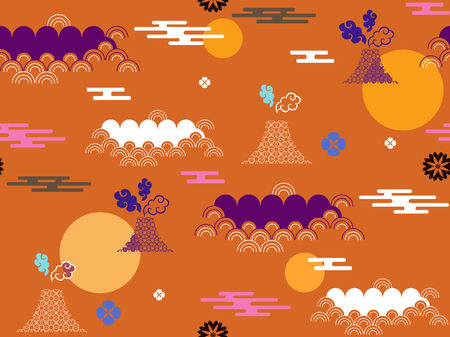 Beautiful Japanese seamless pattern with clouds, waves, moon and mountain vector seamless Asian texture. For printing on packaging, textiles, paper, book covers, manufacturing, wallpapers, gift wrap and scrapbook. Illustration