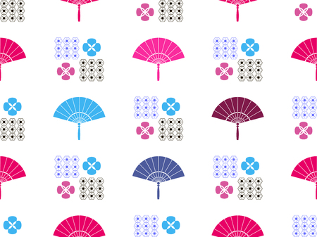Beautiful Japanese seamless pattern with fan and flowers vector seamless Asian texture. For printing on packaging, textiles, paper, book covers, manufacturing, wallpapers, gift wrap and scrapbook.  イラスト・ベクター素材