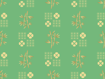 Beautiful Japanese seamless pattern with bamboo trees and flowers vector unique seamless Asian texture. For printing on packaging, textiles, paper, book covers, manufacturing, wallpapers, bags, scrapbook.