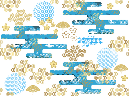 Beautiful Japanese seamless pattern with clouds, waves and flowers vector unique seamless Asian texture. For printing on packaging, textiles, paper, book covers, manufacturing, wallpapers, bags, scrapbook.
