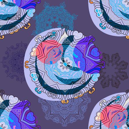 Vector asian seamless pattern mandala print.Vintage decorative elements.