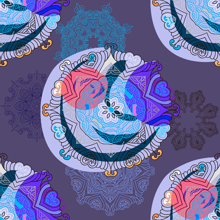 Vector asian seamless pattern mandala print.Vintage decorative elements.