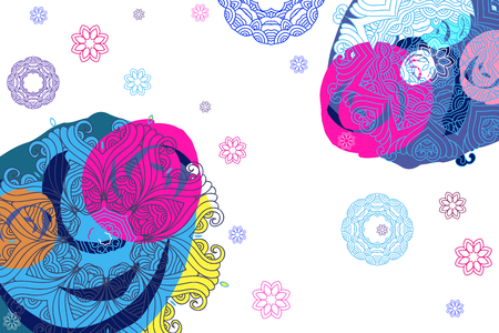 Festive colorful beautiful vector background with mandala. Vintage decorative elements. Hand drawn asian background.