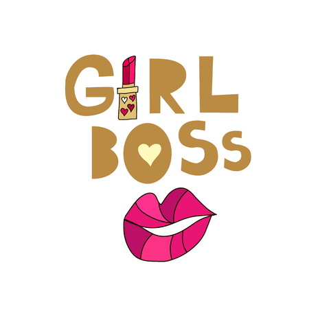 Cute lettering card in cartoon style. Girl  boss.    Vector illustration.