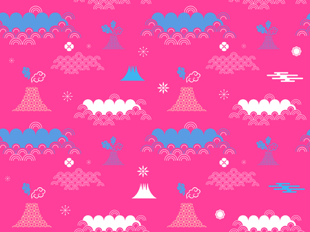 Decorative seamless tribal  pattern with clouds, waves, japanese , chinese elements. Vector seamless asian texture.For printing on packaging, textiles, paper,book covers, manufacturing, wallpapers, print, gift wrap and scrapbooking.  イラスト・ベクター素材