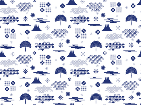 Beautiful japanese seamless  pattern with clouds, waves and flowers. Vector seamless asian texture.For printing on packaging, textiles, paper,book covers, manufacturing, wallpapers,  gift wrap and scrapbooking.