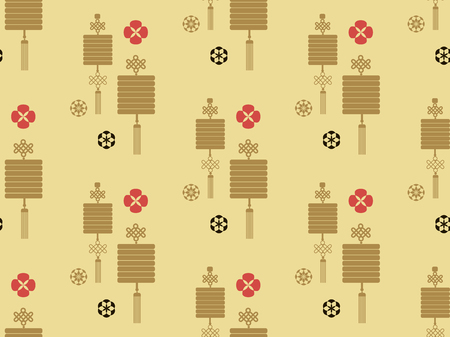 Beautiful japanese seamless  pattern with lanterns, clouds and flowers. Vector seamless asian texture.For printing on packaging, textiles, paper,book covers, manufacturing, wallpapers,  gift wrap and scrapbooking.