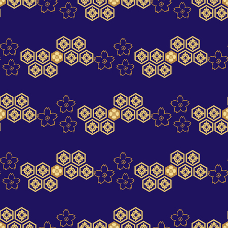 Beautiful japanese seamless  pattern with clouds, waves and flowers. Vector unique seamless asian texture.For printing on packaging, textiles, paper,book covers, manufacturing, wallpapers,bags, scrapbooking. Иллюстрация