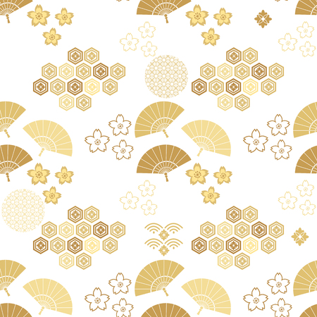 Beautiful japanese seamless  pattern with clouds, waves and flowers. Vector unique seamless asian texture.For printing on packaging, textiles, paper,book covers, manufacturing, wallpapers,bags, scrapbooking. Vectores