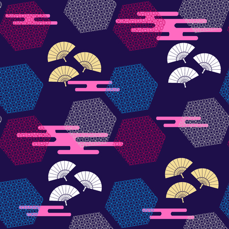 Beautiful japanese seamless  pattern with  japanese clouds and fans. Vector unique seamless asian texture.For printing on packaging, textiles, paper,book covers, manufacturing, wallpapers,bags, scrapbooking.