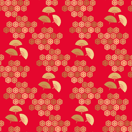 Beautiful japanese seamless  pattern with fans, clouds, waves and flowers.Red and gold.  Vector unique seamless asian texture.For printing on packaging, textiles, paper,book covers, manufacturing, wallpapers,bags, scrapbooking. Ilustrace