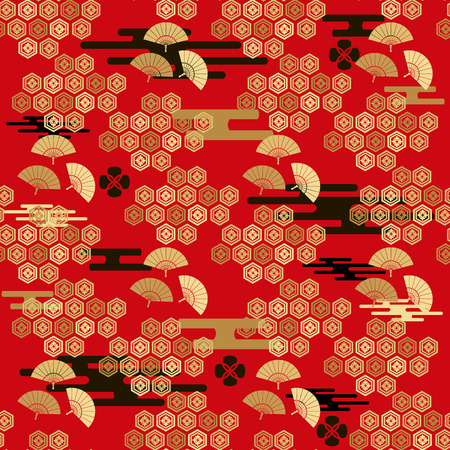 Beautiful japanese seamless  pattern with fans, clouds, waves and flowers.Red and gold.  Vector unique seamless asian texture.For printing on packaging, textiles, paper,book covers, manufacturing, wallpapers,bags, scrapbooking. Vettoriali