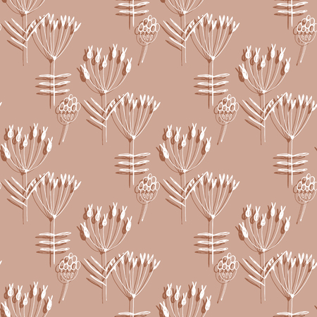 Plants and flowers wallpaper design illustration  イラスト・ベクター素材