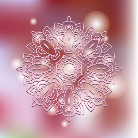 Mandala on a blurred background.  Vector mandala print.Vintage decorative elements. Hand drawn background.Arabic, Indian, ottoman,nepali, tibetan motifs.  Illustration