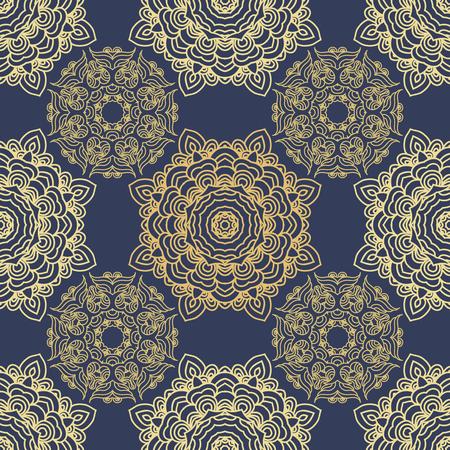 Vektor nahtlose Muster Mandala Druck. Vintage dekorative Elemente. Hand gezeichneter asiatischer Hintergrund. Arabische, nepalesische, indische, osmanische, tibetische Motive.