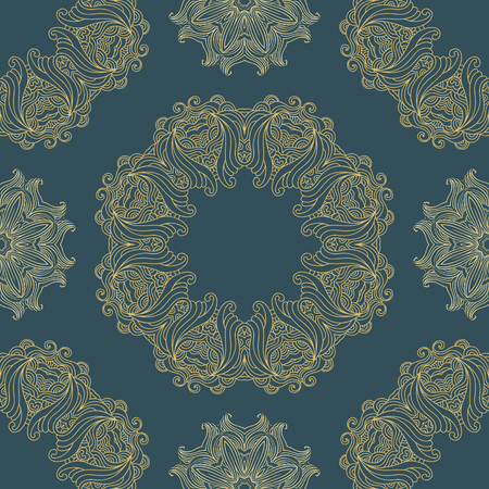 Vector seamless pattern mandala print.Vintage  oriental decorative elements. Hand drawn asian background.Arabic, nepali,Indian, ottoman, tibetan motifs.  Иллюстрация