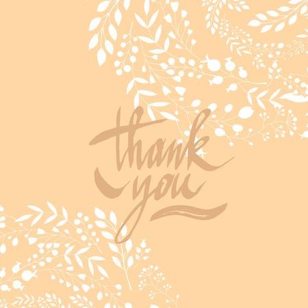 Thank you- Hand drawn text lettering.perfect design element for banner, flyer, postcard or poster. Illusztráció