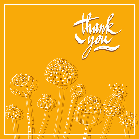 Thank you-template card.Vector calligraphic illustration of hand drawn  inscriptions.Lettering design. Vector illustration.