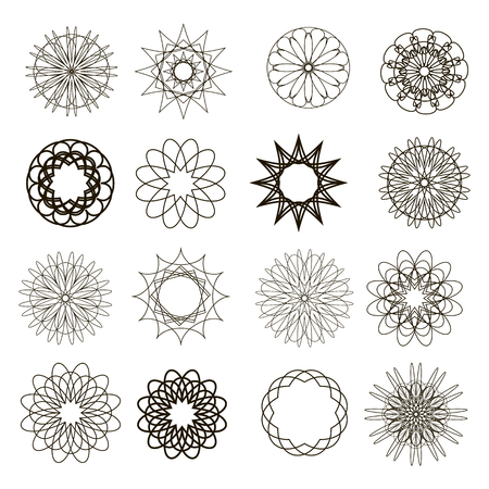 Set of geometric shapes.Collection round ornaments. Flower of life.Sacred geometry.Vector illustration.Isolated.