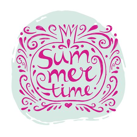 Summer- Hand drawn text lettering.Summer design.Perfect design element for banner, flyer, postcard or poster.