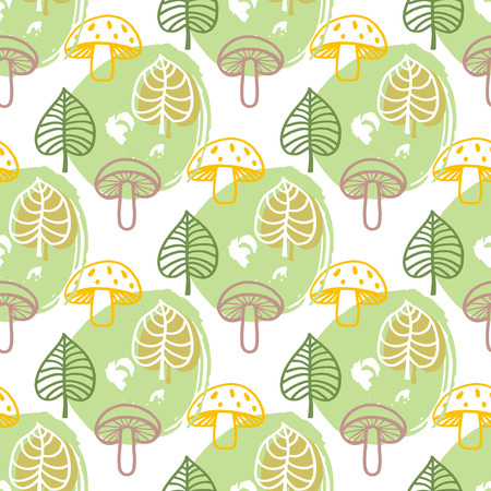 Funny autumn pattern with mushrooms and leaves. Vector decorative seamless texture.For printing on packaging, textiles, covers, package, wrapping paper,bags.