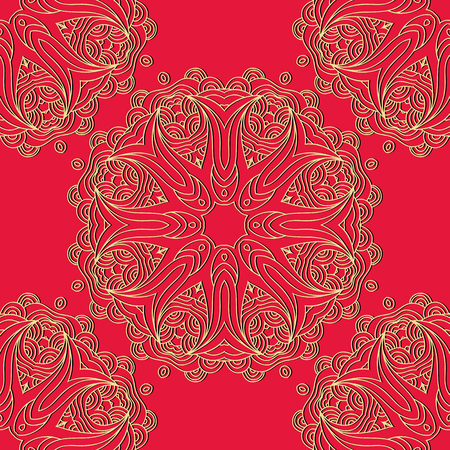 Vector seamless pattern mandala print.Gold ornament on a red background.Vintage decorative elements. Hand drawn asian background.Arabic, nepali,Indian, ottoman, tibetan motifs.