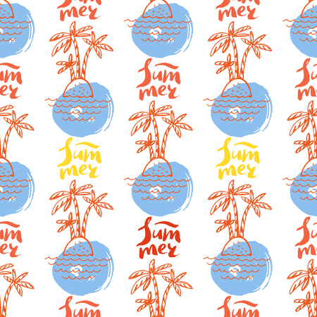 Decorative handdrawn pattern with funny palm tree and blots.Cute blue whale.Text- summer. Vector seamless texture.For printing on packaging, textiles, paper.Vector.