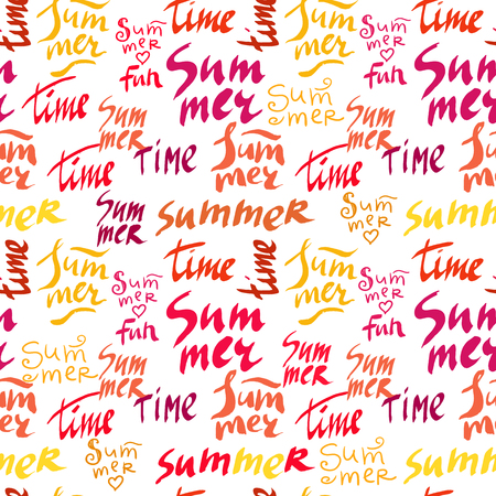 Decorative hand drawn pattern with letter .Text- summer Vector seamless texture.For printing on packaging, textiles, paper.Vector.