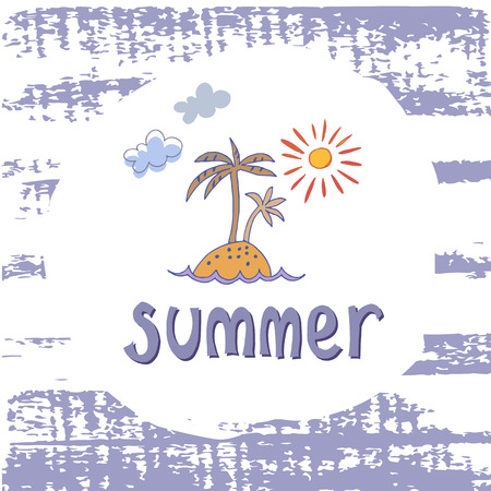 Summer template card with palm tree and sun. This illustration can be used as a print on t-shirts and bags or as a poster. Modern design. Vector illustration.