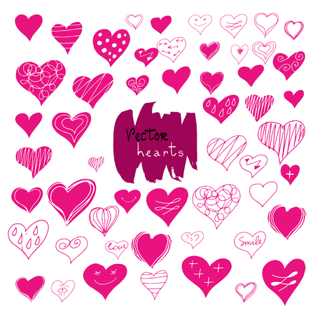 Vector set of hand drawn red hearts on a white background. Can be used as a print on t-shirts and bags for posters and invitations. Doodle element for design.Decorative hearts.