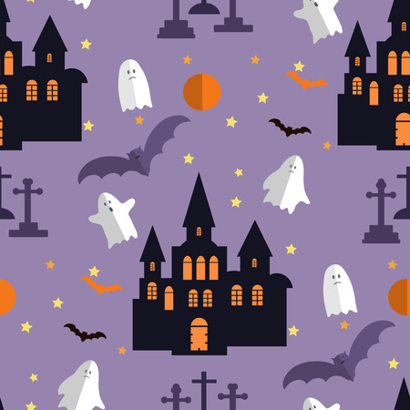 A Background holiday design.Halloween design.Template seamless pattern Halloween. Halloween haunted castle, trees, bats, and a full moon. Vector illustration. Vettoriali