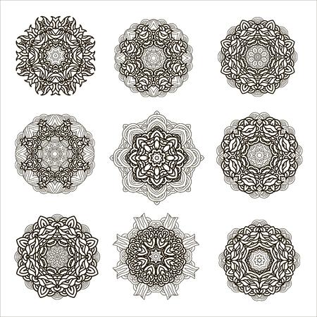 Set  of outline mandalas. Arabian and indian, tibetan  ornament. Hand drawn decorative  background,decorative element for ethnic shop or as pattern for web design. Ilustração