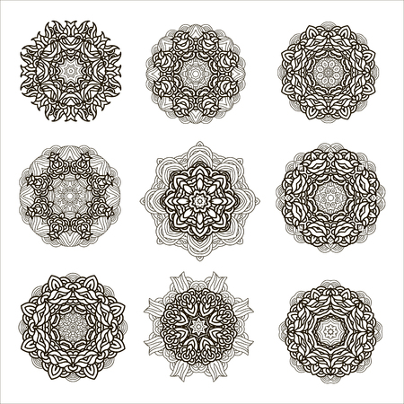 Set  of outline mandalas. Arabian and indian, tibetan  ornament. Hand drawn decorative  background,decorative element for ethnic shop or as pattern for web design. Illustration