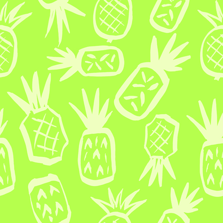 Funny seamless pattern with pineapples. Vector seamless ornament. Template for the fabric. Package design, product package, product label. Illustration