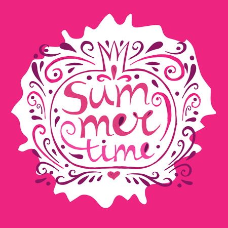 Summer- Hand drawn text lettering.Pomegranate doodle. Text- summer time.Summer design.Perfect design element for banner, flyer, postcard or poster.