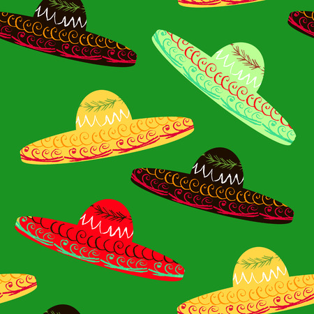 Mexican seamless pattern  with sombrero. Happy Cinco de mayo! Mexican festive background. Cinco De Mayo template paper  design.Vector illustration. Illustration