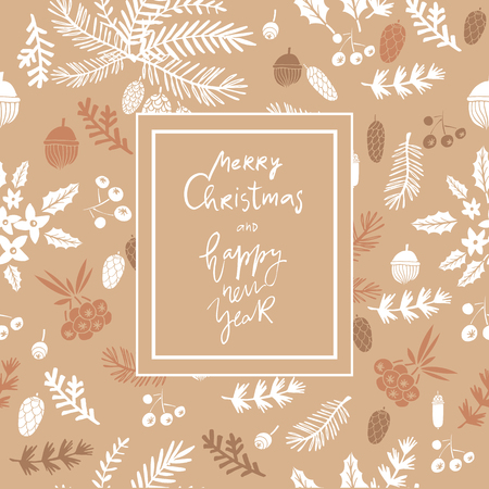 Hand drawn christmas greeting card of conifers: fir, larch, juniper, pine, and spruce in a unique design. Vettoriali