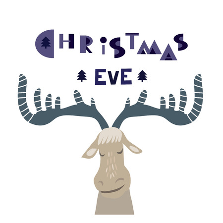 Christmas Eve. Template poster, greeting card, invitation with cute deer.. Vector illustration. Illustration