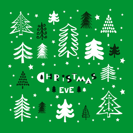 Christmas Eve. Template poster, greeting card, invitation with  winter forest.. Vector illustration.