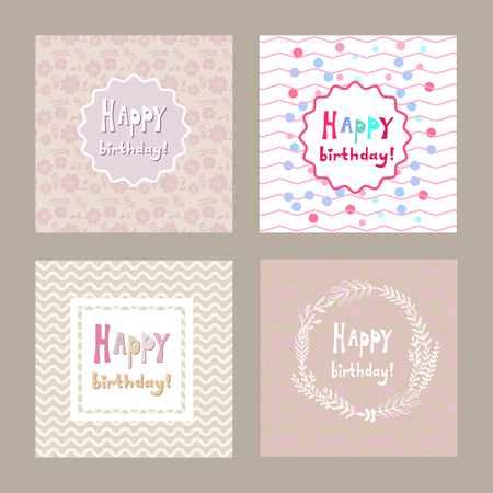 Happy birthday-hand drawn card template .Vector illustration. For invitations, postcards, packaging,banner,photo overlays. Modern calligraphic .
