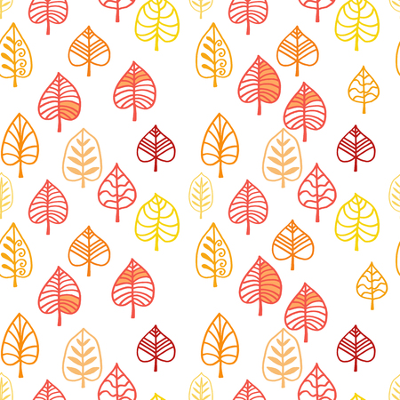 Hand drawn leaf seamless pattern. Winter forest. Holiday background.