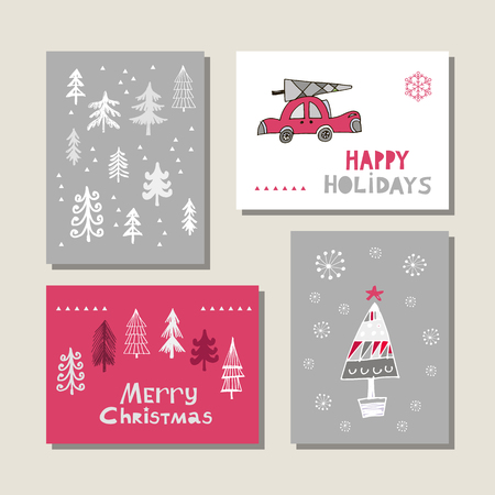 Set of hand drawn Christmas cards. Hand drawn Christmas tree, car and snowflakes in vector. Vettoriali