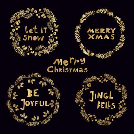 Set of hand drawn Christmas wreaths. Illustration